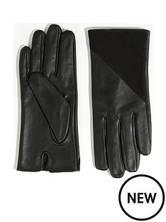 warehouse-leather-and-suede-zipped-gloves-black
