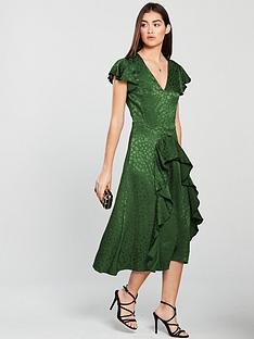 v-by-very-ruffle-jacquard-dress-green
