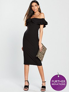 b846b96bf1a8 V by Very Ruffle Bardot Bodycon Dress - Black
