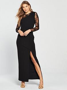 v-by-very-lace-sleeve-maxi-dress-black