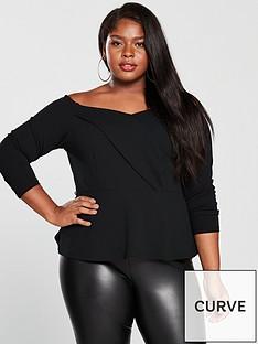 v-by-very-curve-long-sleeve-bardot-top-black