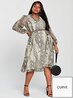 v-by-very-curve-midi-dress-snake-print