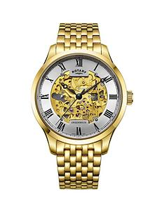 rotary-greenwich-gold-and-silver-skeleton-dial-gold-stainless-steel-bracelet-mens-watch