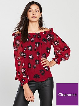 religion-religion-chemistry-bardot-floral-off-long-sleeve-blouse