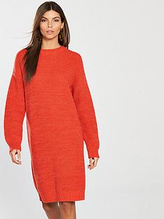 v-by-very-high-crew-neck-dress-burnt-orangenbsp