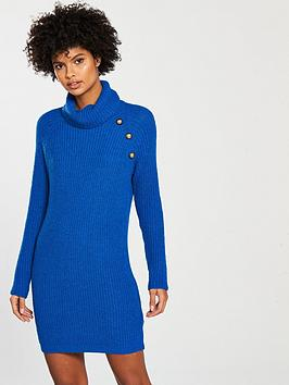 v-by-very-button-detail-roll-neck-mini-knitted-dress-electric-bluenbsp