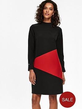 wallis-colour-block-swing-dress-black