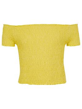 river-island-girls-yellow-shirred-bardot-top