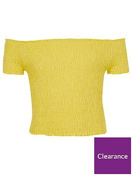 river-island-girls-yellow-shirred-bardot-top