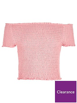 river-island-girls-coral-shirred-bardot-top