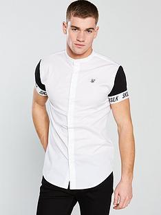 sik-silk-short-sleeve-grandad-collar-shirt-white