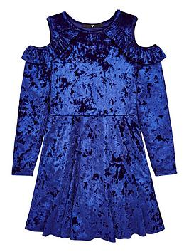 v-by-very-blue-cold-shoulder-velour-party-dress