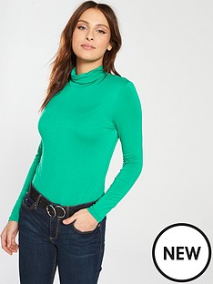 v-by-very-roll-neck-top-green