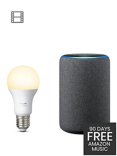 amazon-echo-plus-2ndnbspgennbspwith-built-in-smart-hub-and-hue-white-ambiance-e27-single-bulb