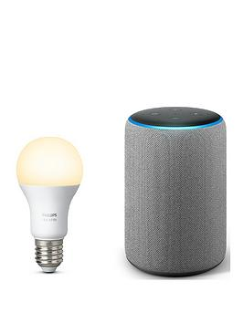 Amazon   Echo Plus (2Nd Gen) With Built-In Smart Hub And Hue White Ambiance E27 Single Bulb