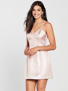 the-girl-code-metallic-flare-dress-silver-blush