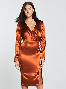 the-girl-code-wrap-satin-midi-dress-rust
