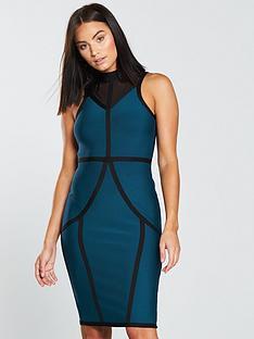 the-girl-code-high-neck-mesh-bandage-midi-dress-petrol