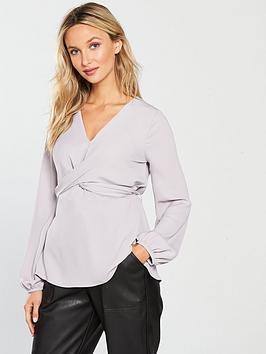 river-island-tie-back-blouse-light-grey