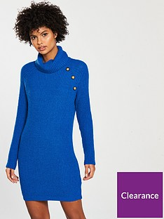 8d2208070d5 V by Very Petite Button Roll Neck Knitted Jumper Dress - Blue