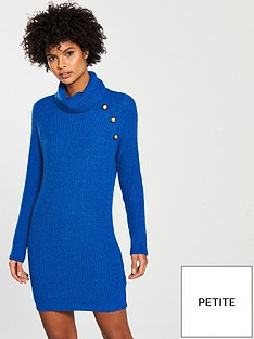 v-by-very-petite-button-roll-neck-knitted-jumper-dress-blue