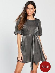 v-by-very-petite-metallicnbsptie-waist-skater-dress-grey