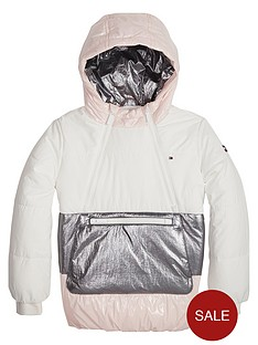 d0ca9cd3211f7 Tommy Hilfiger Girls Colour Block Pop Over Padded Jacket - White