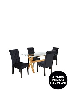 venla-150-cm-solid-wood-and-glass-dining-table-4-velvet-scroll-back-chairs