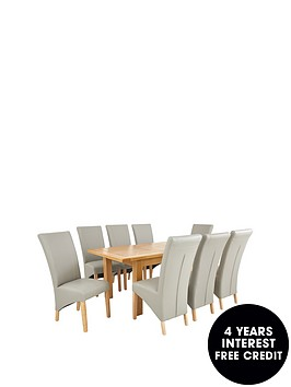 oakland-140-180-cm-solid-wood-extending-dining-table-8-vienna-chairs