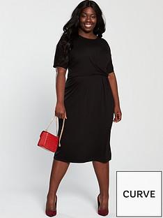 e1072ef8438 V by Very Curve Twist Front Midi Dress - Black