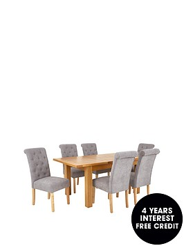 oakland-140-180-cm-solid-wood-extending-dining-table-6-fabric-scroll-back-chairs