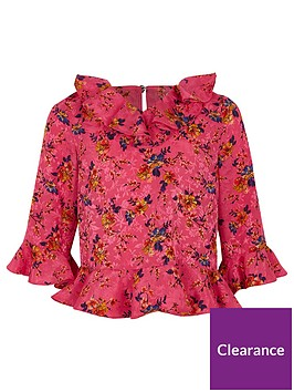 river-island-girls-pink-floral-ruffle-neck-blouse