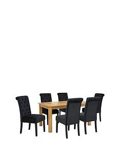 Parquet 150 Cm Solid Oak And Veneer Dining Table 6 Velvet Scroll Back Chairs