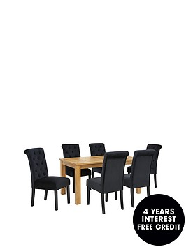parquet-150-cm-solid-oaknbspand-oak-veneer-dining-table-6-velvet-scroll-back-chairs