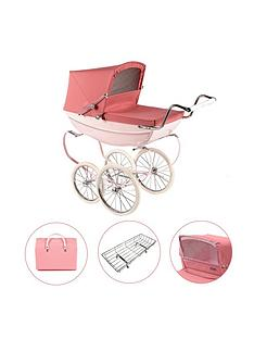 silver-cross-oberon-pink-dolls-pram-4-piece-exclusive-bundle-with-optional-personalisation
