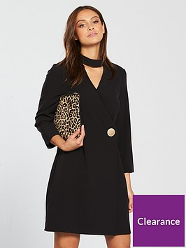 warehouse-gold-disk-high-neck-dress-blacknbsp
