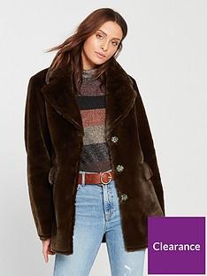warehouse-femme-faux-fur-coat-chocolate