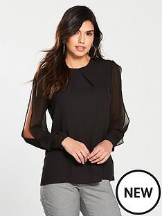 warehouse-chiffon-split-sleeve-top-black