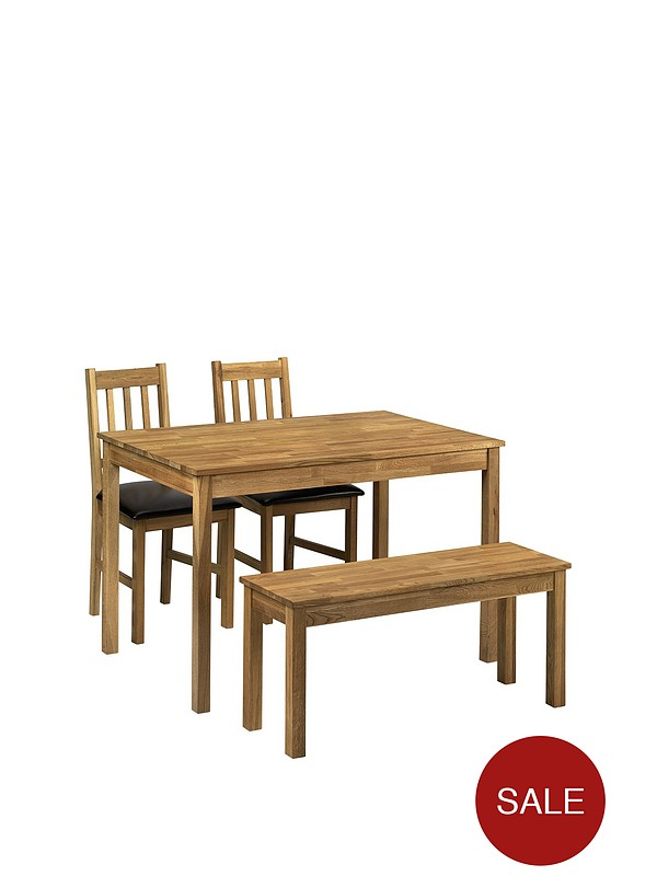 Moor 118 Cm Solid Oak Dining Table 2 Chairs Bench