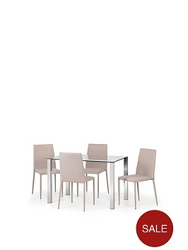 julian-bowen-enzo-120-cm-glass-and-chrome-dining-table-4-linen-chairs-sand