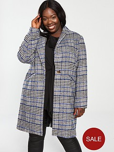 girls-on-film-curve-check-pea-coat--nbspblue