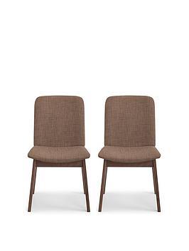 Julian Bowen Julian Bowen Kensington Pair Of Solid Wood And Linen Chairs Picture