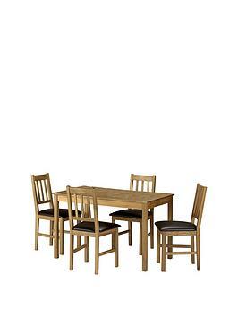 Julian Bowen Julian Bowen Coxmoor 118 Cm Solid Oak Dining Table + 4 Chairs Picture