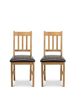 Julian Bowen Julian Bowen Pair Of Coxmoor Solid Oak Dining Chairs Picture