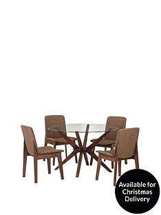 222fbd4f67 Julian Bowen Chelsea 120 cm Round Glass and Wood Dining Table + 4 Chairs