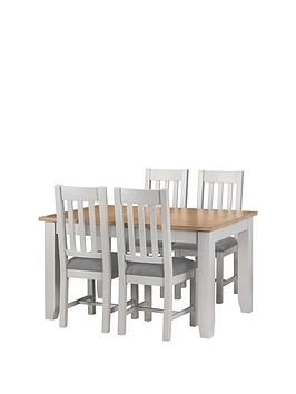 Julian Bowen Richmond 140 - 180 Cm Extending Solid Wood And Veneer Dining Table + 4 Chairs
