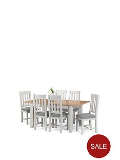 0aa3324e8730 Julian Bowen Richmond 140 - 180 cm Extending Solid Wood and Veneer Dining  Table + 6 Chairs