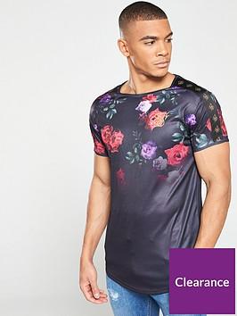 sik-silk-oil-paint-taped-curved-hem-gym-t-shirt-black