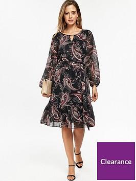 wallis-petite-paisley-lurex-dress-black