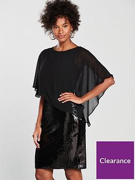 wallis-sequin-asymmetric-overlayer-dress-black